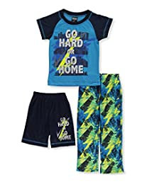 "Quad Seven Little Boys' ""Go Hard or Go Home"" 3-Piece Pajamas"
