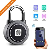 Fingerprint Padlock – kerpu 2nd Gen Smart Bluetooth Keyless Biometric Suitable for House Door, Suitcase, Backpack,Office, Gym, Bike, APP is Suitable for Android/iOS, Support USB Charging