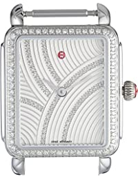 Michele Women's 26mm x 27.5mm, Deco II Mid Uptown Diamond, Diamond Dial Watch Silver Silver Watch