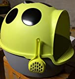 Ezonedeal Cat Kitten Toilet Litter Tray Box House - Scoop Portable Carrier with Handle a (Light Green)