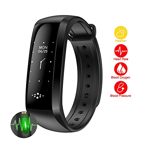 Waterproof Fitness Tracker Activity Wristband Sleep Heart Rate Blood Pressure Oxygen Monitor Pedometer Smart Bracelet Watch Calories Step Track Health Smart Band for iPhone and Android Phones (Black) For Sale