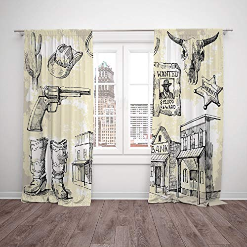 2 Panel Set Thermal Insulated Blackout Window Curtain,Western