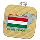 3dRose 777images Flags and Maps - The map and flag of Hungary with Republic of Hungary in English and Hungarian. - 8x8 Potholder (phl_37593_1)