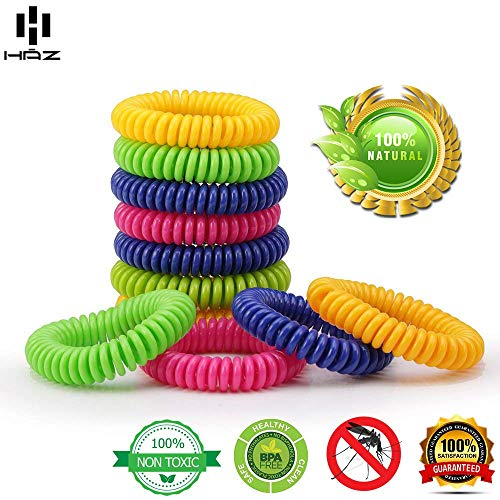 Haz Mosquito Repellent Bracelet - Tick Repellent Wristband - Natural Insect Repellent for Individual Wear - Pack of 14 Bug Bands for Adults & Children - 100% Natural & Non-Toxic Deet-Free Bands