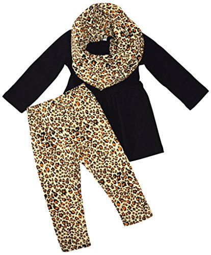 Unique Baby Girls 3 Piece Matching Leopard Print Legging Set (2T/XS, Leopard) (Toddler Leopard Leggings)