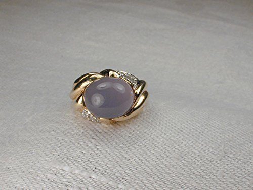 - Elegant Estate 14K Yellow Gold Cabochon Chalcedony Pave Diamond Ring Band