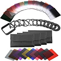 QKOO 40-in-1 Square Graduated Full Color ND Filter Kit Compatible for Cokin P Series Bundle for DSLR Cameras, Adapter Ring Filter Holder and Lens Hood Included