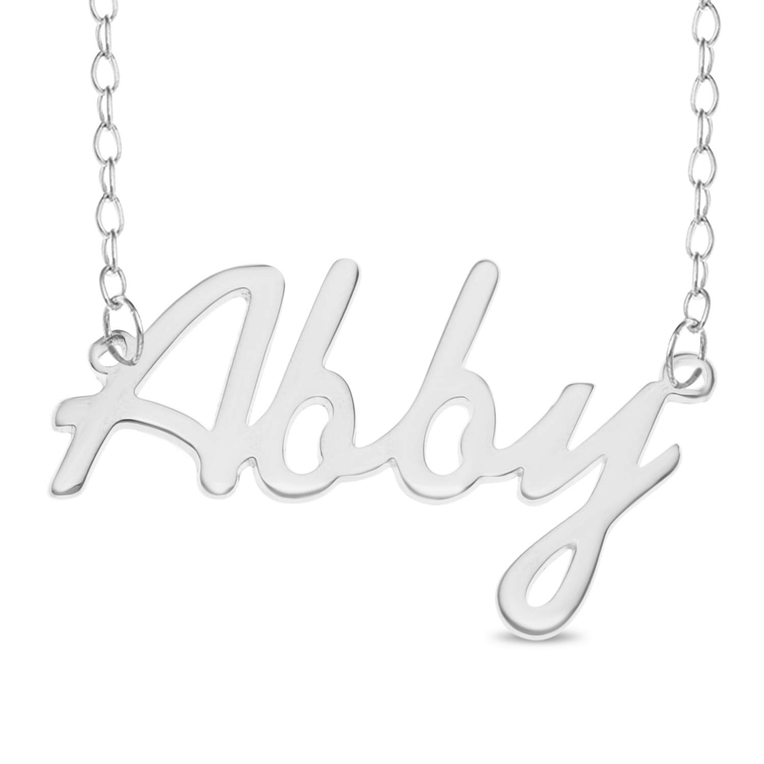 2891632532dad ABBY Name Necklace 925 Sterling Silver Box Chain Pendant Gift + ...