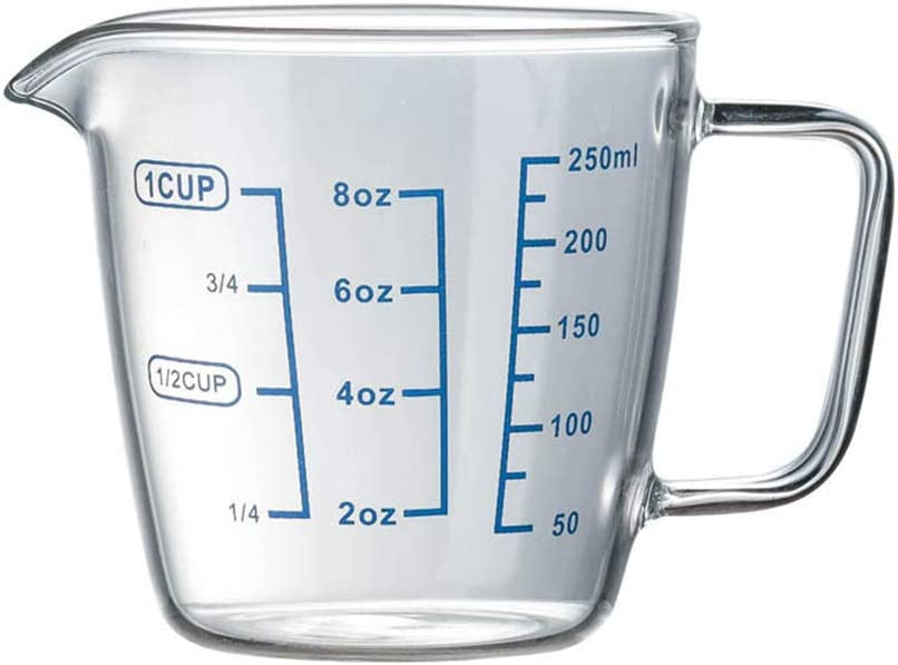 1 Cup glass measuring cup with Measurements, 250ML Milk Cups 8 oz