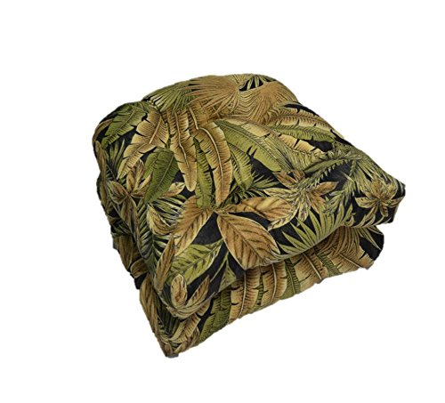 Set of 2 - Universal Tufted U-shape Cushions for Wicker Chair Seat - Tommy Bahama Black Green Tan Tropical Palm Leaf - Indoor / Outdoor
