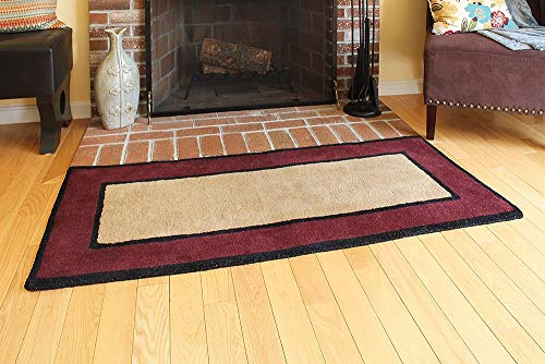 Minuteman International Contemporary II Berry Wool Hearth Rug, Rectangular (Fireplace Hearth Rugs)