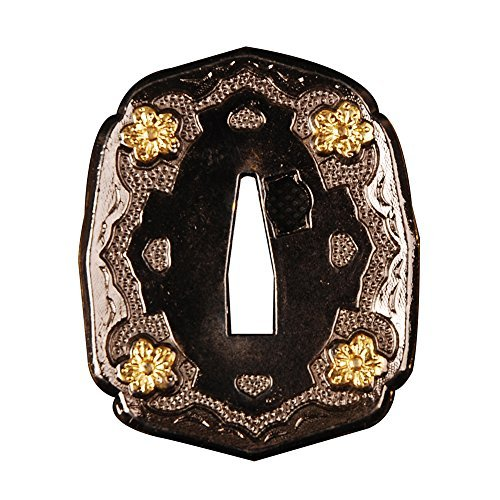 Shijian Alloy Tsuba Plated Golden Flowers For Japanese Samurai Swords