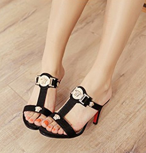 Women's Toe Heels SHOWHOW High Strap Slide Sandals Open T Gladiator Mule Black YnnqTdC