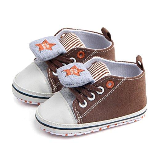 SYY 0-1Jahre alt Baby Fashion Sneaker Kind Mädchen Sterne Print Lace-up Anti-Rutsch-Schuhe Sneaker Braun