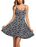 ACEVOG Women's Casual Fit and Flare Floral Sleeveless Beach Slip Strap Skater Dress