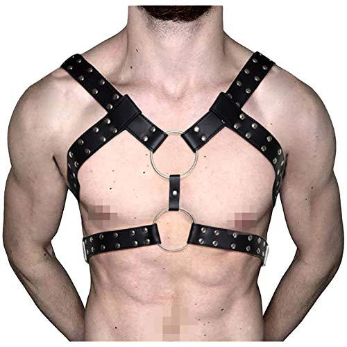 L'VOW Men's Black Leather Adjustable Buckle Straps Body
