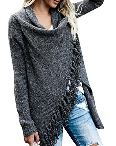 Faisean Womens Cardigan Sweaters Tassels Long Sleeve Loose Knit Chunky Outwears