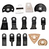 HAOLI Oscillating Multitool Saw Blades Fit Fein Multimaster Porter Cable Bosch Dremel Craftsman Ridgid Ryobi Makita Milwaukee Rockwell Chicago Skil (HL15-2(15pcs))