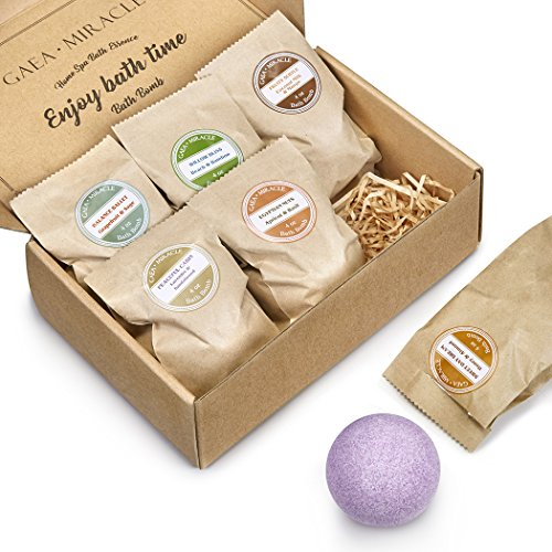 Gaea-Miracle-Bath-bombs-Gfit-Set-6-X-40-oz-Spa-Bomb-Fizzies-Vegan-Natural-Essential-Oils-Handmade-Birthday-Gift-idea-For-HerHim-Wife-Girlfriend-Men-Women