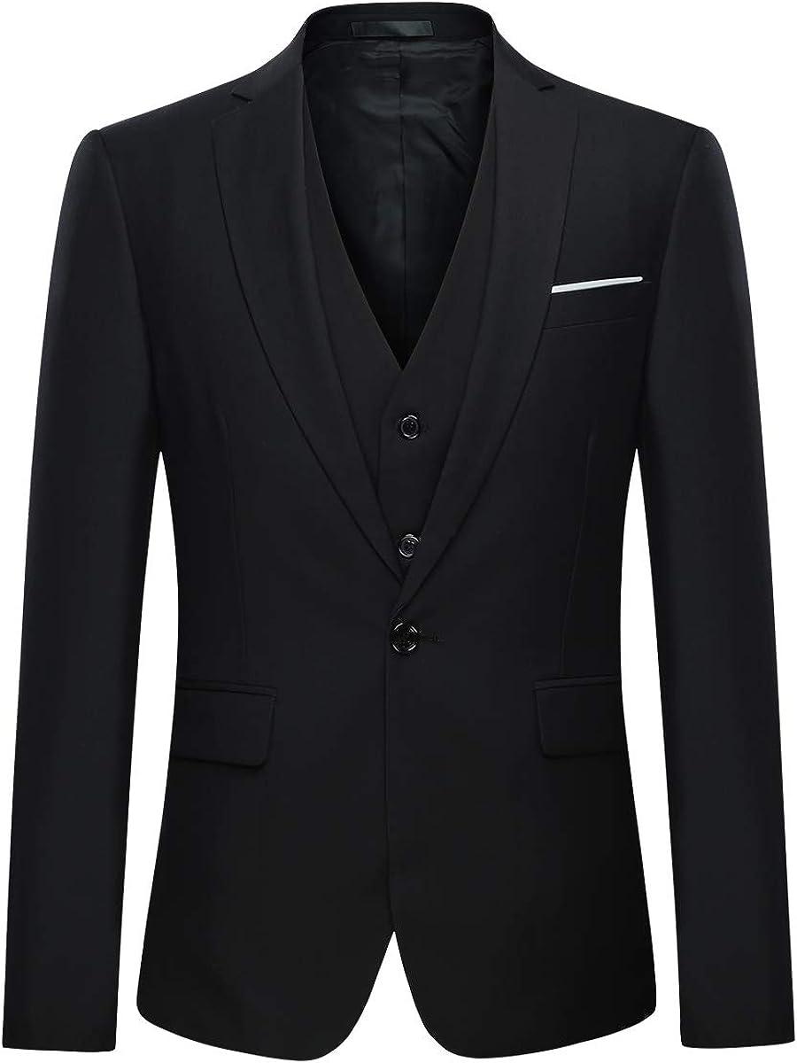 XXL Black Youthup Mens Suit Regular Fit Business Suits 3-Piece Suit Jacket Suit Trousers Vest