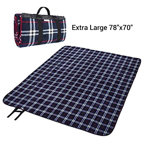 (MelodySusie Outdoor Picnic Blanket Machine Washable, Extra Large 78″x70″ Soft Plush Fleece Waterproof Picnic Mat Ground Cover - Multipurpose Outdoor/Indoor Blanket for Camping, Hiking, Festival, Park)