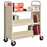 Sandusky Lee SFV336-07 Combination Top Flat Shelf Book Truck, 19'' Length, 39'' Width, 46'' Height, 5 Shelves, Putty