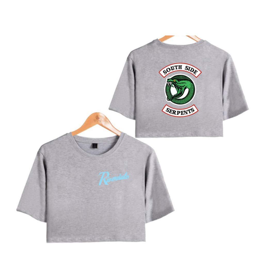 LvShui Riverdale T-Shirt Magliette Ragazza Maglietta Tumblr Donna Southside Serpents Crop Top T Shirt Maniche Corte Estate Canotta Hip Pop Top Casuale Maglia Camicia
