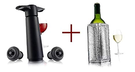 a105c05e915d Amazon.com  Vacu Vin Wine Saver with 2 Vacuum Stoppers - Black ...