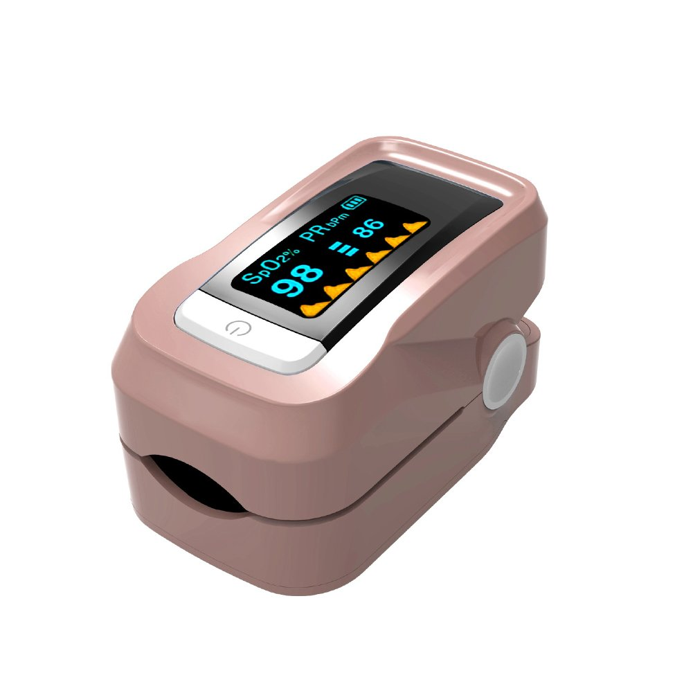 Fingertip Pulse Oximeter Oximetry Blood Oxygen Saturation Monitor with Carrying bag and lanyard(brown)
