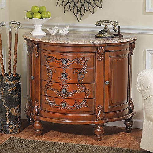 Design Toscano AE56552 Carbonne Crescent Marble Top Console, Cherry