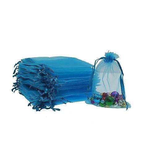 AsentechUK® 100 Bolsas de Organza de 13 cm x 18 cm para joyería de Regalo, Bolsas de Organza con cajón para Bodas y Bolsas de Organza