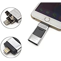 eMart High Capacity iPhone USB Flash Drive 64GB i-Flash U-Disk Memory Stick Pen Drive for Computer, iPhone & iPad and Android Cell Phone Series - Silver