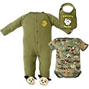 Baby Boys Licensed U.S.M.C. Bulldog 3Pc Set Embroidered Bodysuit, Sleeper & Bib (0-3 Months)