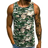 iHPH7 Vest Men Fitness Gym Muscle Bodybuilding Workout Sleeveless Tank Top Shirts Casual Print Camouflage Short Sleeve Sport T-Shirt Top Vest Blouse XXXL Army Green