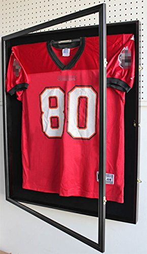 XX Large Football/Hockey Uniform Jersey Display Case frame, UV Protection ULTRA CLEAR, LOCKS (Mahogany Finish)