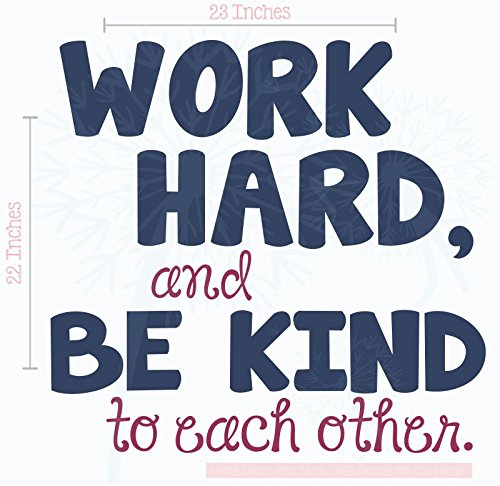 Work Hard, Be Kind To Each Other Vinyl Letters Stickers Wall Decals Art Inspirational Back to School Quote 23x22-Inch Deep Blue/Berry by Wall Decor Plus More (Image #4)