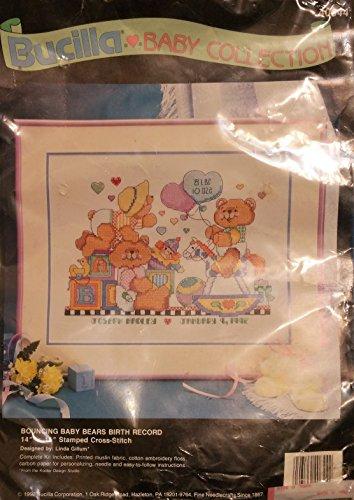 Bucilla - Baby Collection - Bouncing Baby Bears Birth Record Bear Birth Record