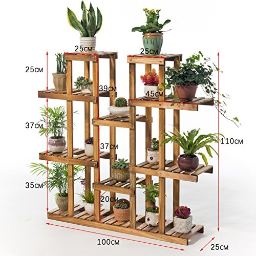 Balcony wooden living room flowerpot rack hundred step style flower racks-A by Flower racks