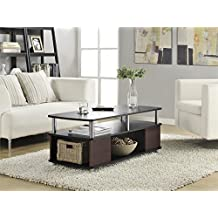 Altra Furniture Carson Coffee Table with Storage, Cherry and Black Finish