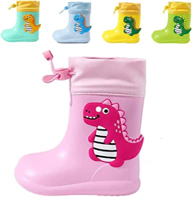 Botas de Agua para Niños y Niñas con Cordón Ajustable en el Cuello, Botas de Lluvia Caucho Goma de Dinosaurio Impermeable y Antideslizante