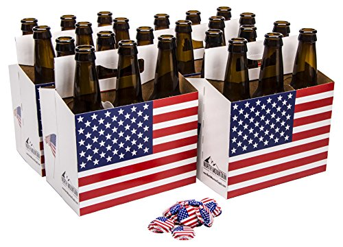 12 Ounce Bottle Case (North Mountain Supply 12 Ounce Long-neck Amber Beer Bottles - Case of 24 - Includes American Flag Crown Caps & 6-Pack Carriers)