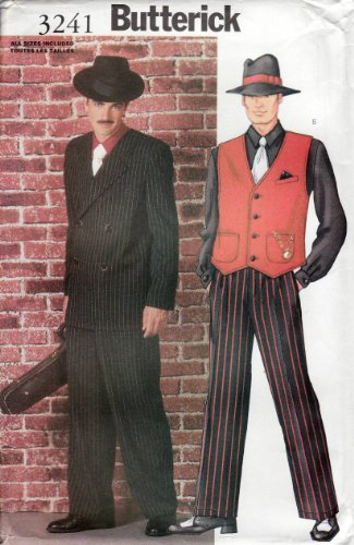 Butterick 3241 Men's Costume Gangster Zoot Suit Sewing Pattern All Sizes