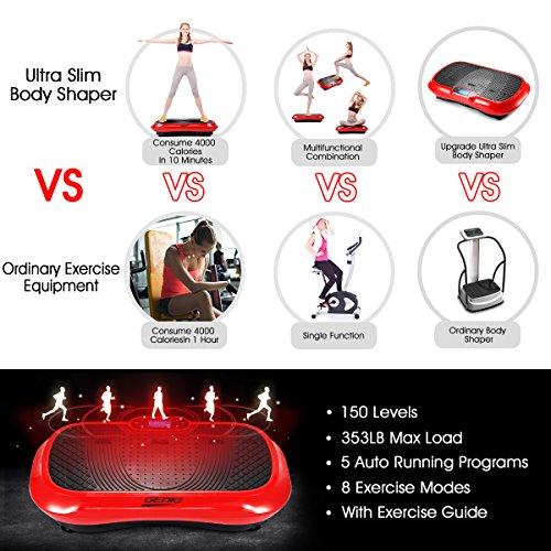 GENKI YD-1010B-R Ultra Slim Vibration Machine Plate Platform Whole Body Shaper Trainer Exercise Red by GENKI (Image #3)