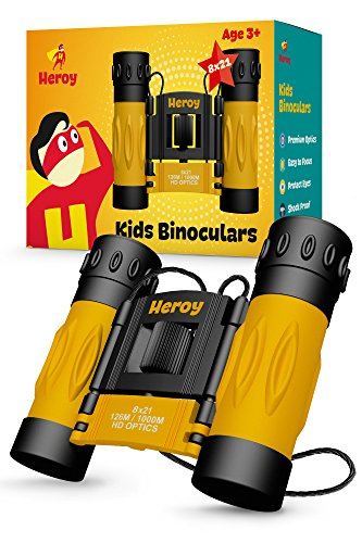 Kids Binoculars 8×21 – Toy Binoculars for Boys and Girls with Carrying Case and Neck Strap – Compact Folding Children's Binoculars for Bird Watching Stargazing Hunting Hiking and More