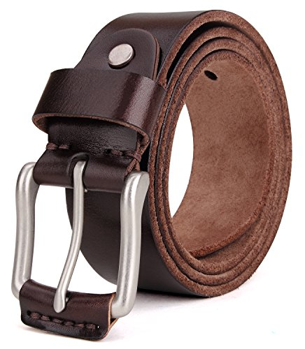 (Tonly Monders Vintage Genuine Leather Belt For Men Black/Brown/Coffee, 1 1/2 Inch Width, 52 53 54 Waist Big And Tall )