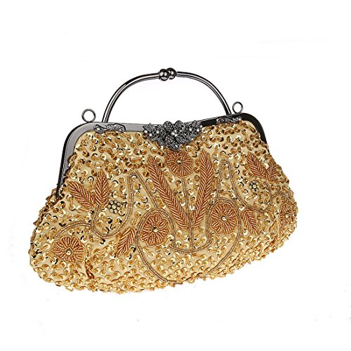 KAXIDY Bolso de Tarde del Embrague del Satén con la Bolsa (Rojo) dorado