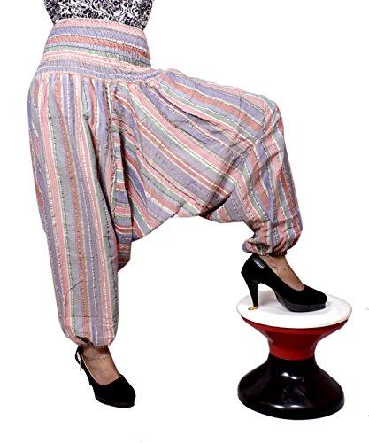 Algodón a Rayas Genie harén pantalones Beggy Gypsy pantalones Yoga tamaño libre Multicolor