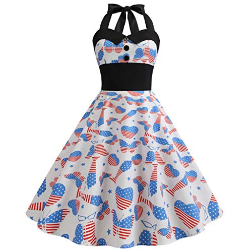UAS Flag Top,Pengy Women UAS Flag Dress Independence Day Skirt Ladies Swing Button Halter Dress Blue]()