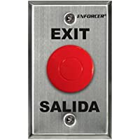 "SECO-LARM SD-7201RCPE1Q ENFORCER Request-to-Exit Plate with Red Mushroom Cap Push Button, Stainless-steel face-plate, ""Exit"" and Salida"" silk-screened on plate"