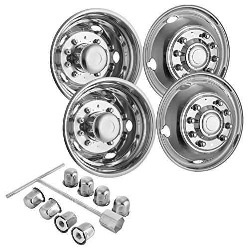 (Mophorn 4 PCS of Wheel Simulators 19.5 Inch 10 Lug Hubcap Kit Fit for 2005-2017 Ford F450 - F550 2WD Trunk Polished Stainless Steel Bolt On Dually Wheel Cover Set (19.5
